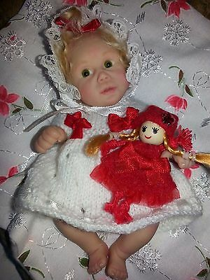 OOAK baby doll KATERINA sculpted by Carol Landells 2008 glass eyes clay 5""