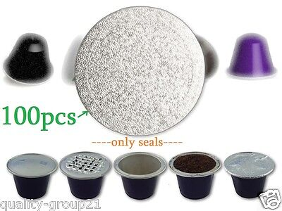 100pcs Nespresso Refillable Capsules seal pods stickers ship to us & worlwide