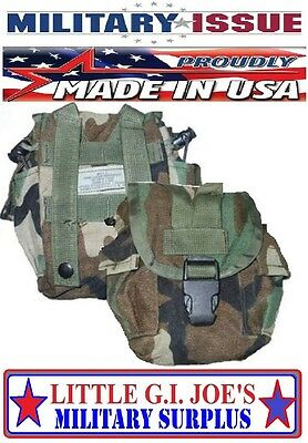 Military USGI Woodland Camo Molle Canteen Cover Molle General Purpose Pouch USED