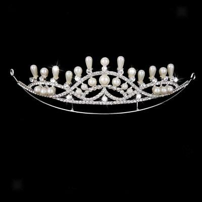 Bridal Crystal Pageant Crown Wedding Prom Pearl Headband Veil Tiara