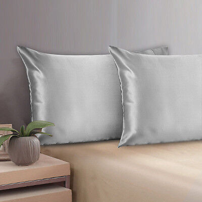 100% Mulberry Pure Silk Pillow Cases/Cover QUEEN STANDARD - 19 MOMME SILVER GRAY