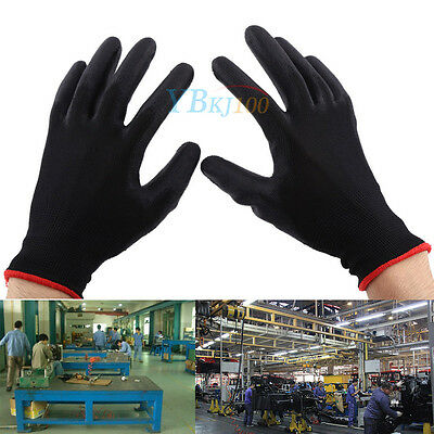 12/24 Pairs Black Nylon PU Safety Work Glove Builders Grip Palm Coating Glove CL