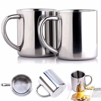 Portable Student Stainless Steel Double Wall Mug Travel Tumbler Coffee Tea Cup