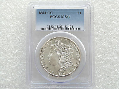 1884-CC United States Morgan $1 One Dollar Silver Coin PCGS MS64 Carson City