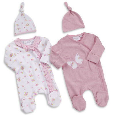 Premature Tiny Baby Girls Sleepsuit Hat Outfit Set Floral Butterfly 5-8Lbs UK