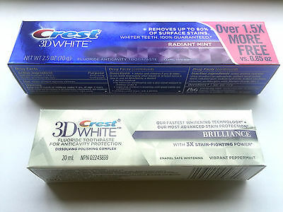 2x CREST 3D TOOTHPASTE WHITE BRILLIANCE VIBRANT RADIANT MINT TEETH WHITENING