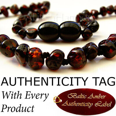RARE CRIMSON BLACK Baltic Amber Baby Child Necklace