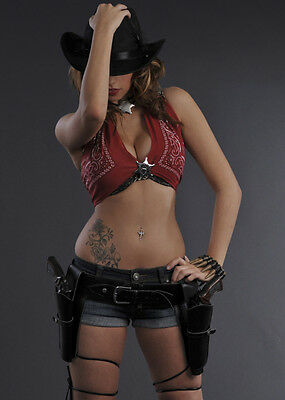 Authentic Western Black Cowgirl Holster Belt