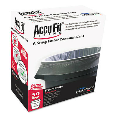 """AccuFit Can Liners, 44gal, 0.9mil, Clear, 37"""" x 50"""", 50/Box"""