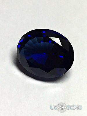 Sapphire Blue Dark. Oval 10x8mm. 3 Ct. Created Gemstone Monosital. US@GEMS