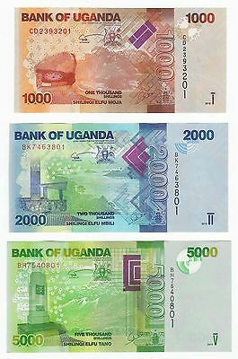 UGANDA SET 3 PCS 1000 2000 5000 SHILLINGS, 2015, P 49 50 51 New, UNC