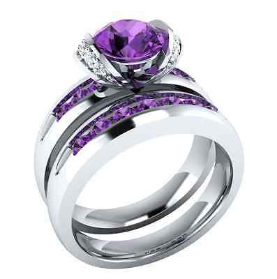 Gorgeous Women Round Cut 2.25ct Amethyst 925 Silver Wedding Ring Size 6-10