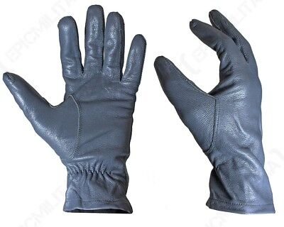 Original German Army Leather Gloves - Winter Driving Smart Surplus Military Grey