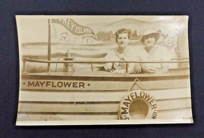 Vintage RPPC Postcard Souvenir Coney Island Boat Mayflower Ladies New York Park