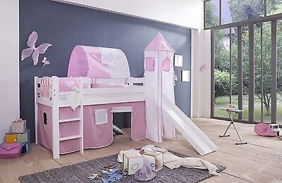 Play bed childrens bed high bunk bed with slide + Curtain + Tower + white Lilly