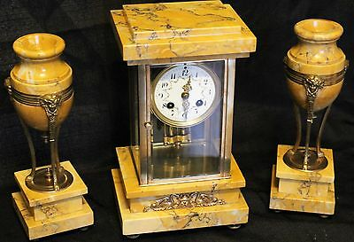 Antique four glass french marble garniture clock