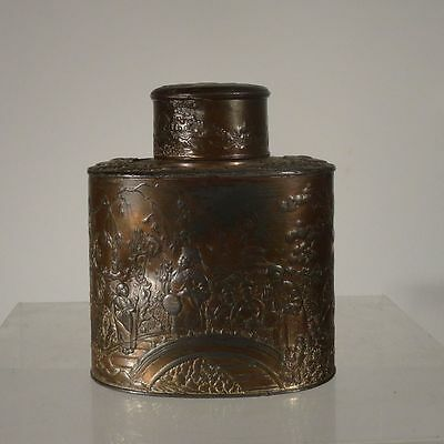 Antique Chinese Japanese Pewter Repousse Gilt Multi Metal Style Tea Caddy