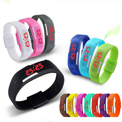 Mens Womens Kids Sports Digital Silicone Rubber LED  Bracelet Wrist Watch