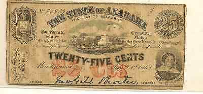 1863 State of Alabama 25 Cents Obsolete Note