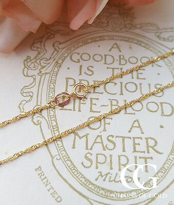 """375 Solid 9ct Yellow Gold Diamond Cut Fine Curb Chain Necklace 16/"""" 24/"""""""