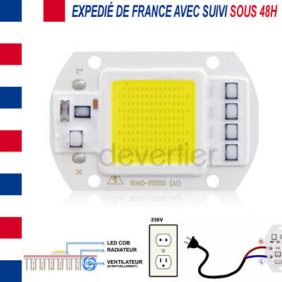 Led Cob High Power 50W 4000 Lumens Blanc Froid Alim Direct 220V Driver Integre