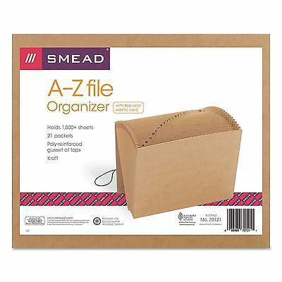Smead 21 Pocket A-Z Indexed Expanding Files Cord Closure Kraft Letter Brown