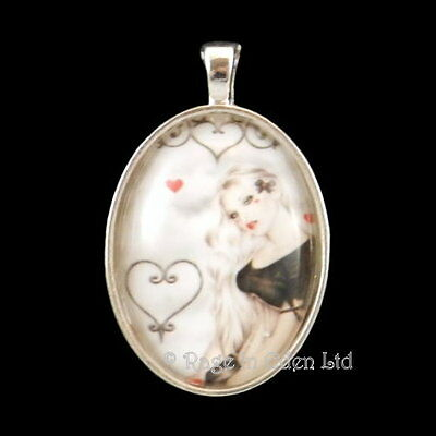 """**A DREAM OF LOVE** Goth Fantasy Art Silver Plated Pendant & 18"""" Chain By Zindy"""