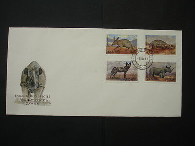 Ziambia : 1988 Endangered Species : Pictorial FDC
