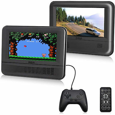 "New RCA 7"" Dual LCD Screen Car Auto Portable DVD Player with Game Pad Controller"