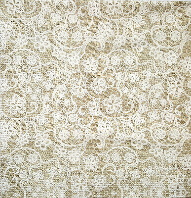 4 Vintage Paper Napkins for Decoupage Lunch Decopatch Craft Party Beige Lace