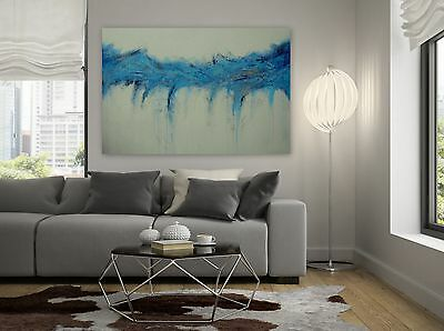 Large Abstract Painting Blue Silver White Textured Beach Decor Original Art