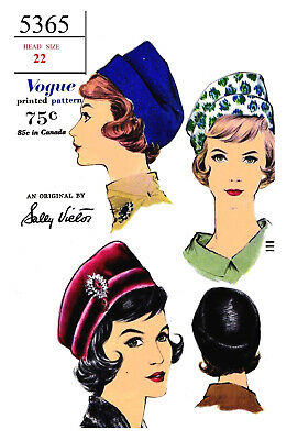 Vintage Vogue Millinery Designer John Frederics Hat Fabric sewing pattern # 5354