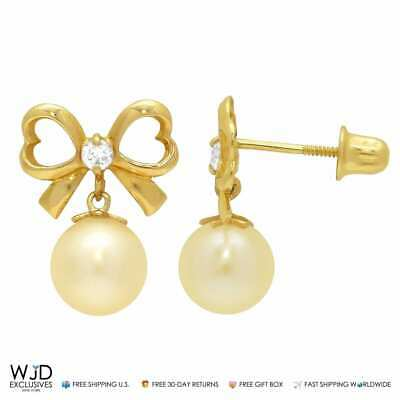 0.10Ct Created Diamond Bow Tie Pearl Dangle Stud Earrings 14K Yellow Gold