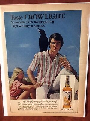 "1973 ""Taste Old Crow Light"" Crow Light Whiskey Print Ad"