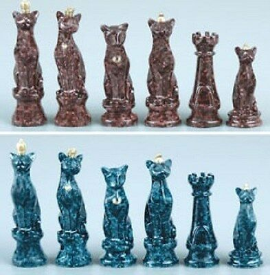 Faux Marbleized Cats Chess pieces - Brand New ~ ~ FAME Collector's item