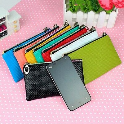 New Lady Clutch Coin Wallet Zip Handbag Faux Leather Purse Phone Holder Pouch
