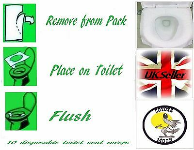 Disposable Toilet Seat Covers Hygiene Protection for Public Bathroom 10 Pack UK