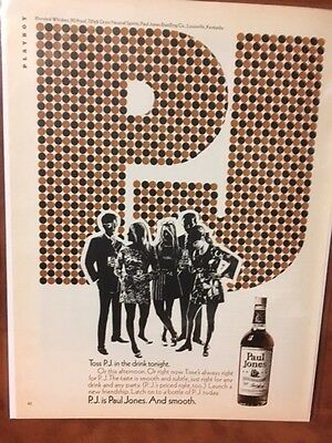 "1970 ""Toss P.J. In A Drink Tonight""   Paul Jones Whiskey Print Ad"