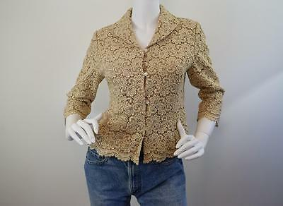 Vtg Gold Lace Metallic Floral Overlay Cropped Jacket Blouse Top Lined XS S