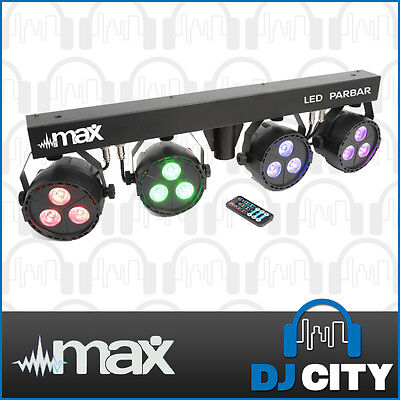 MAX ParBar-4x3W LED Parcan Stage DJ Wash Lighting Set w/ Stand & IR Remote