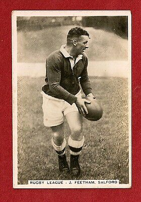 SALFORD FOOTBALL CLUB   JACK FEETHAM  1935 Original card The WILLOWS City Reds