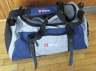 WILSON tennis duffle type bag - Near mint condition - Blue+Gray - 24 x 12 x 12 ""