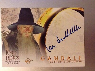 Lord Of The Rings FotR Autograph Card Sir Ian McKellen As Gandalf