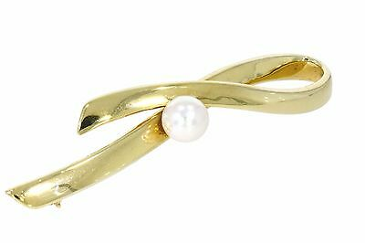 Solid Gold Brooch Set With A Akoya Cultured Pearl