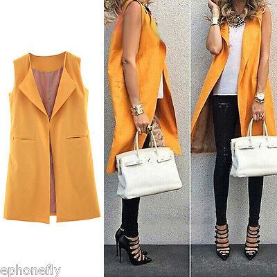 Women Sleeveless Waterfall Cape Lapel Long Cardigan Jacket Coat Waistcoat Vest