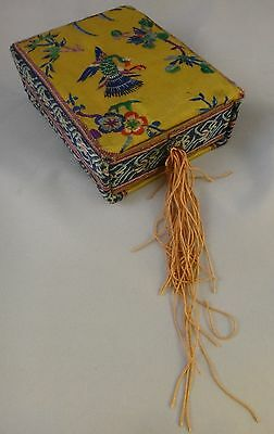 Vintage Chinese Embroidered Box, Silk Embroidery on Silk, Republic p.  1912-39.