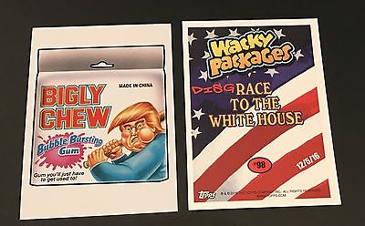 Garbage Pail Kids 2016 Bigly Chew Donald Trump #98 Wacky Packages Disgrace White