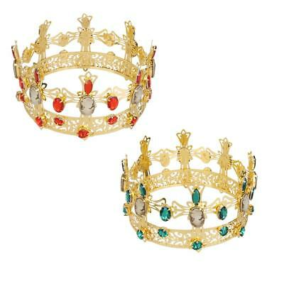 9.5cm Gold Plated Bridal Crystal Rhinestone King Crown Tiara Wedding Pageant