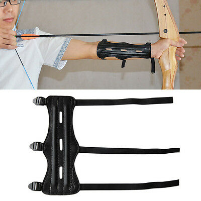 Black PU Leather Sports Archery Bow Arrow Arm Guard Protector W/Adjustable Strap