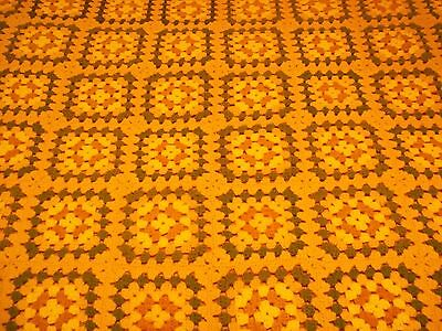 "Vintage Handmade Afghan Crochet Granny Square 64""X50"" Brown Green Yellow #1485"